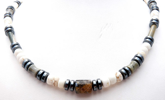 MN0009C-Mens-White-Turquoise-Jasper-Healing-Energy-Chakra-Necklace